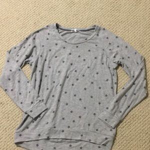 New PJ Salvage pajama star print top in gray